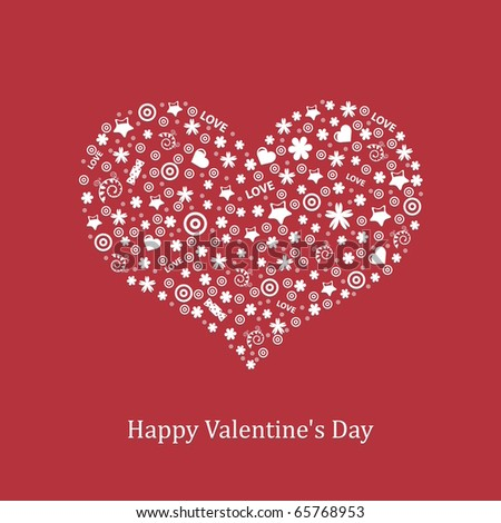Valentine's Day Background With Heart, Vector Illustration - stock vector
