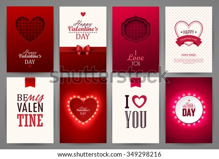 Valentine`s day backgrounds set. Vector illustration. - stock vector