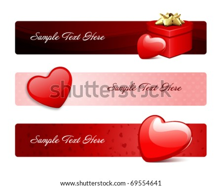 Valentine's day banners or backgrounds set 18 - stock vector