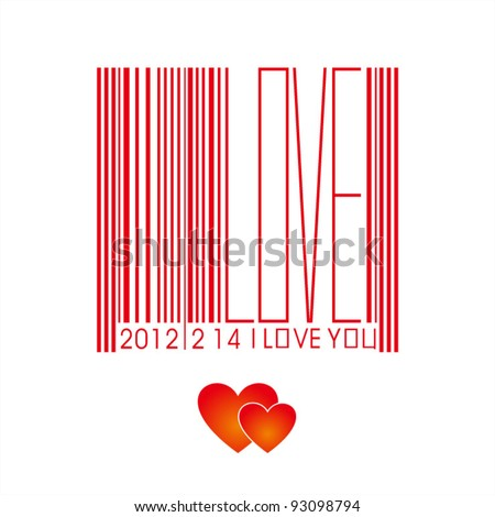Valentine's Day bar code - stock vector