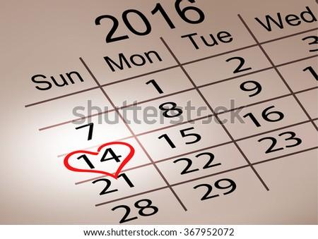 Valentine's Day Calendar. February 14 of Saint Valentines day. Vector illustration. - stock vector