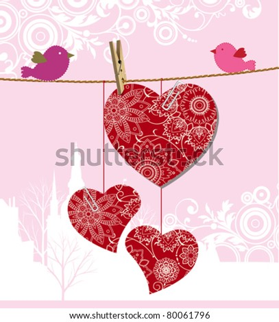 Valentine's day card. All elements and textures are individual objects. Vector illustration scale to any size. - stock vector