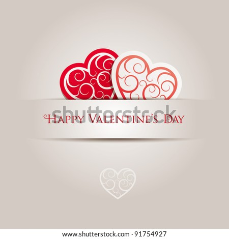 Valentine's Day Card. All elements are layered separately in vector file. - stock vector
