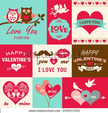 Valentine's day card and design elements - stock vector