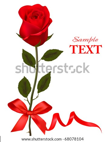 Valentine`s day card. Beauty red rose with bow and ribbons. Vector. - stock vector