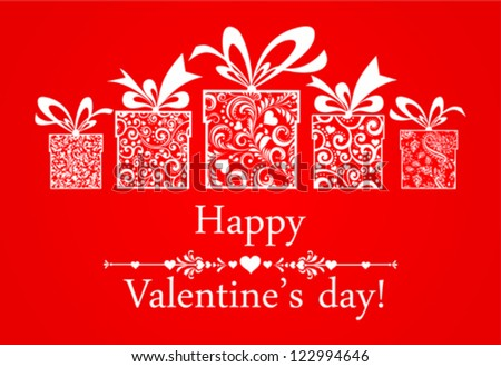 Valentine's Day Card. Celebration red background with gifts box and place for your text. Vector Illustration - stock vector