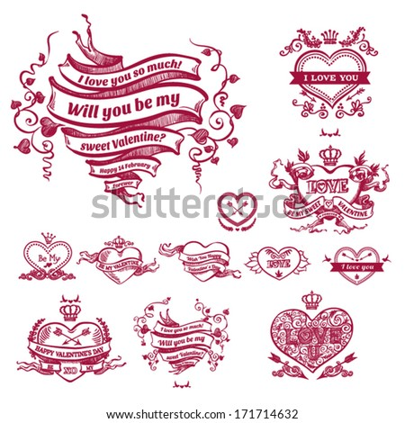 Valentine's day card concept. Set of vintage hearts. Vector vintage baroque engraving floral scroll filigree design. - stock vector