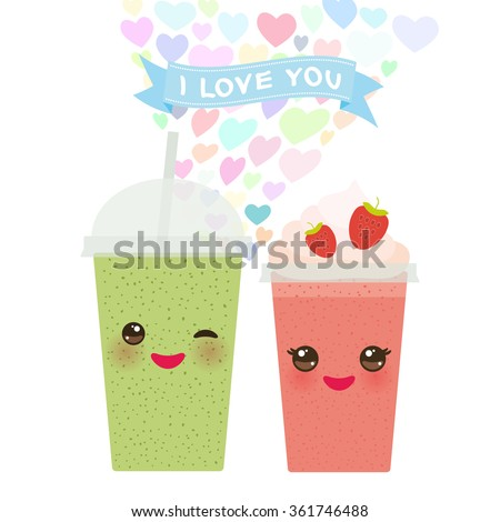 Valentineu0027s Day Card Design With Kawaii Strawberry Kiwi Take Out Smoothie  Transparent Plastic Cup With