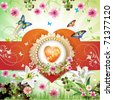 Valentine's day card. Heart  and butterflies over springtime background. - stock vector