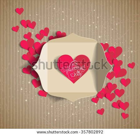 Valentine's day card in an envelope. Greeting Card. Invitation card for wedding - stock vector