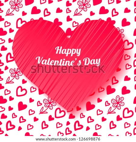 Valentine's day card on hand drawn hearts and flowers background. Vector illustration - stock vector
