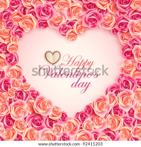 Valentine`s Day card on pink roses with place for text. - stock vector