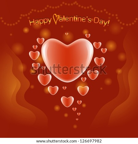 Valentine's Day card on the red background - stock vector