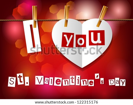 Valentine`s day card. Paper heart hanging on clothespins. Part of set. Vector. - stock vector