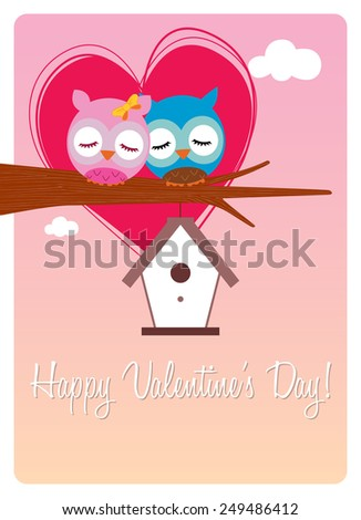 valentine's day card, sweet pair of owls in love - stock vector