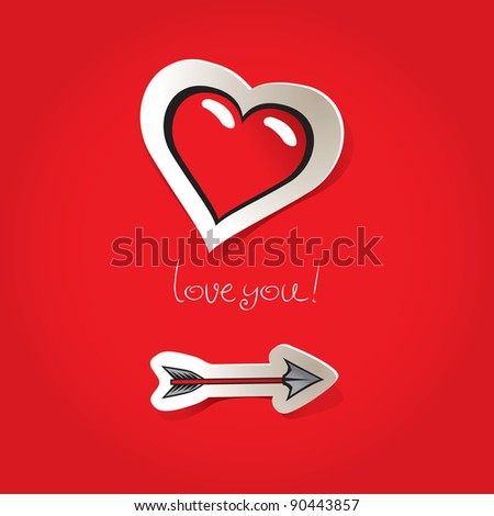 Valentine's Day card to an arrow and a heart - stock vector