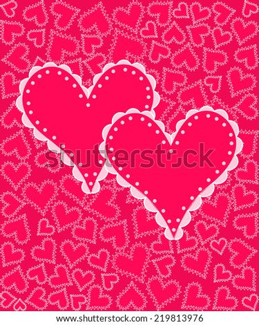 valentine's day card.two hearts on a background with hearts, vector - stock vector