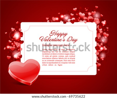 Valentine's day card vector background with heart - stock vector