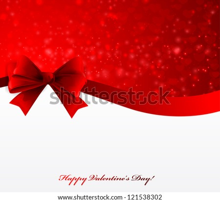Valentine's Day Card With Bow - stock vector