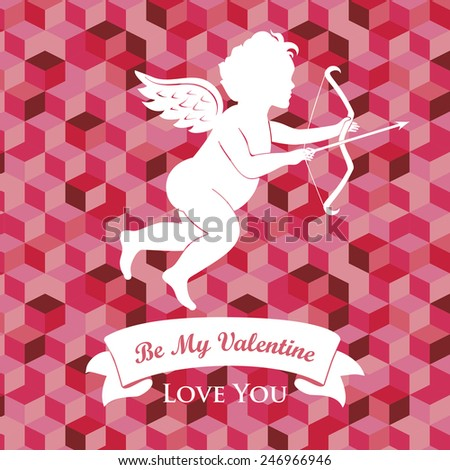 Valentine's day card with cute cupid - stock vector
