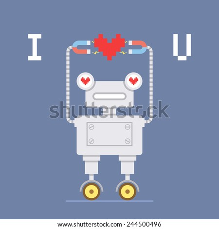 Valentine's day card with cute robot. Vector illustration - stock vector