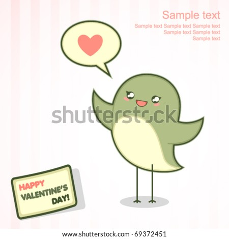 Valentine's Day card with cute singing bird - stock vector