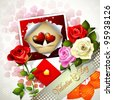 Valentine's day card with flowers and photo - stock vector