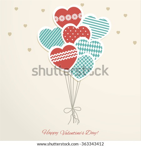 Valentine's Day card with  heards - stock vector