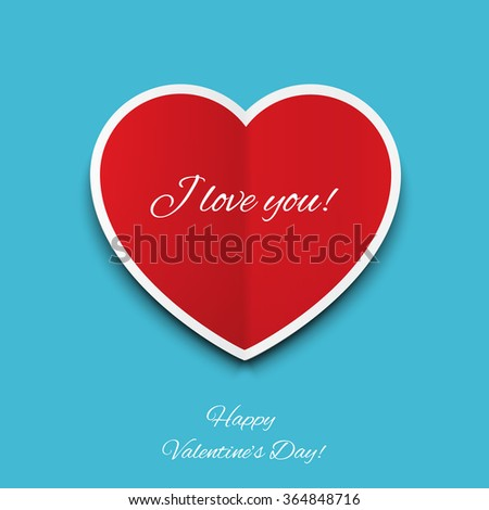 Valentine's Day card with heart - stock vector