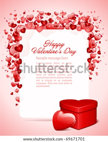 Valentine's day card with heart gift vector background