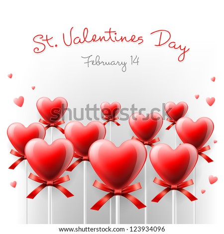 Valentine's Day card with lollipops heart shaped