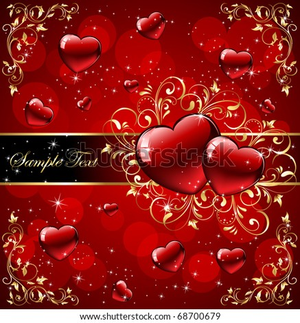 Valentine's Day card with ornate elements, illustration - stock vector