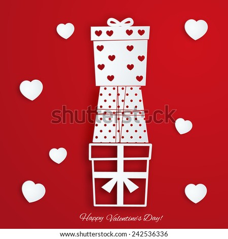 Valentine's Day card with paper gifts - stock vector