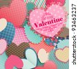 Valentine`s Day card with pile of paper hearts and place for text. - stock photo