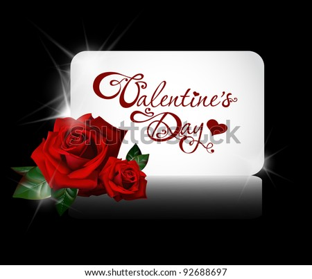 valentine's day card with roses - stock vector