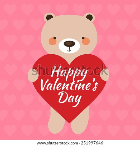 Valentine's day card with teddy bear and heart. Vector illustration eps 10. - stock vector