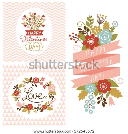 Valentine's day cards set  - stock vector