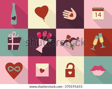 Valentines Day Cards Set Heart Icons Stock Vector 370195655