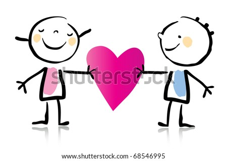 valentines day cartoon romantic couple in love holding heart childrens drawing style series see - Cartoon Valentine Pictures