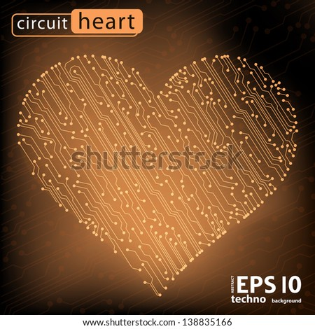valentine's day circuit heart. eps10 vector illustration