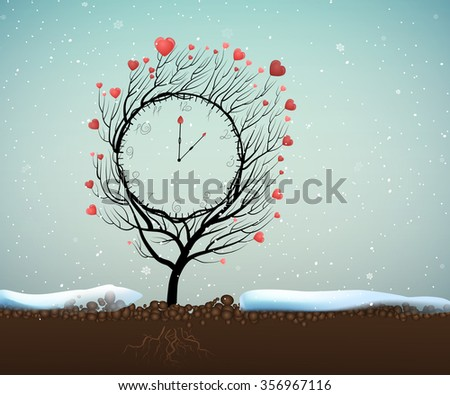 Valentine`s day clock, Time of love, 5 minutes to Valentine`s day, magic love clock tree growing on soil in beautiful winter day, winter love, vector, - stock vector