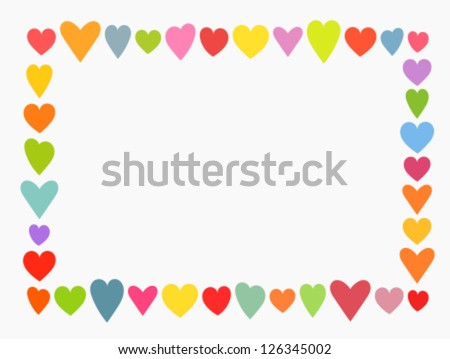 Valentine's day, colorful cute hearts frame. Vector illustration - stock vector