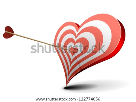 valentine's day concept, arrow hitting a heart shaped target - stock vector