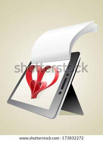 Valentine's Day Concept. Tablet PC Isolated on White Background. Vector