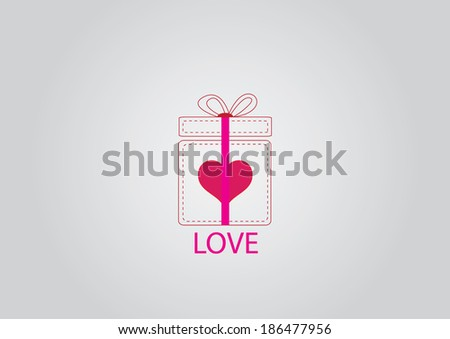 Valentine's day concept with gift box and heart  - stock vector