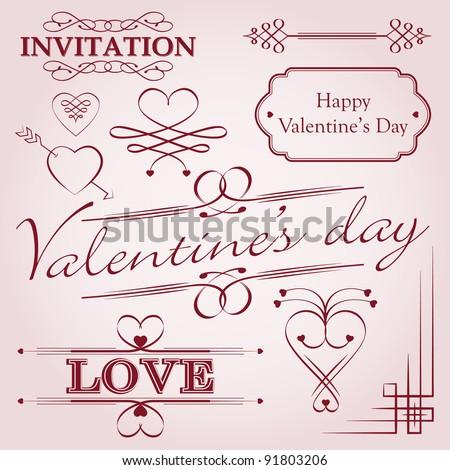 Valentine's day decoration - stock vector