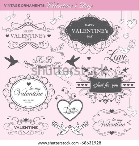 valentine's day design elements - stock vector