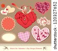 valentine's day design elements - different hearts - stock photo