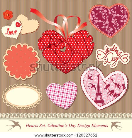 valentine's day design elements - different hearts - stock vector