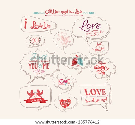 Valentine's day design, labels, icons bubble collection - stock vector